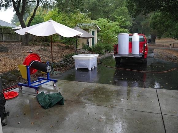 Rain on press